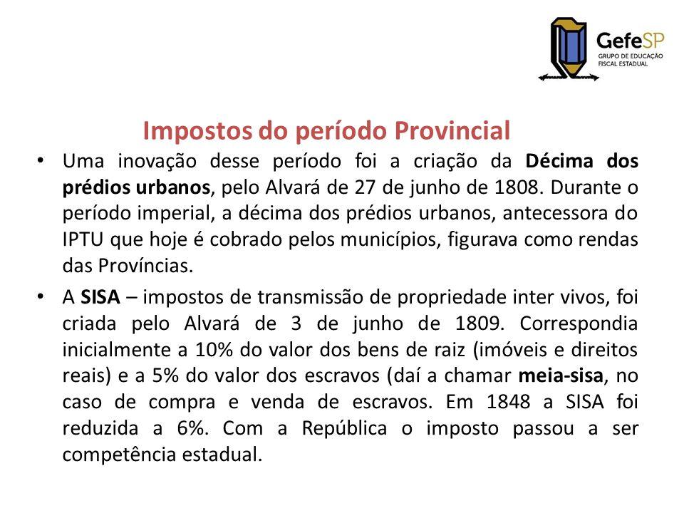 Impostos do período Provincial