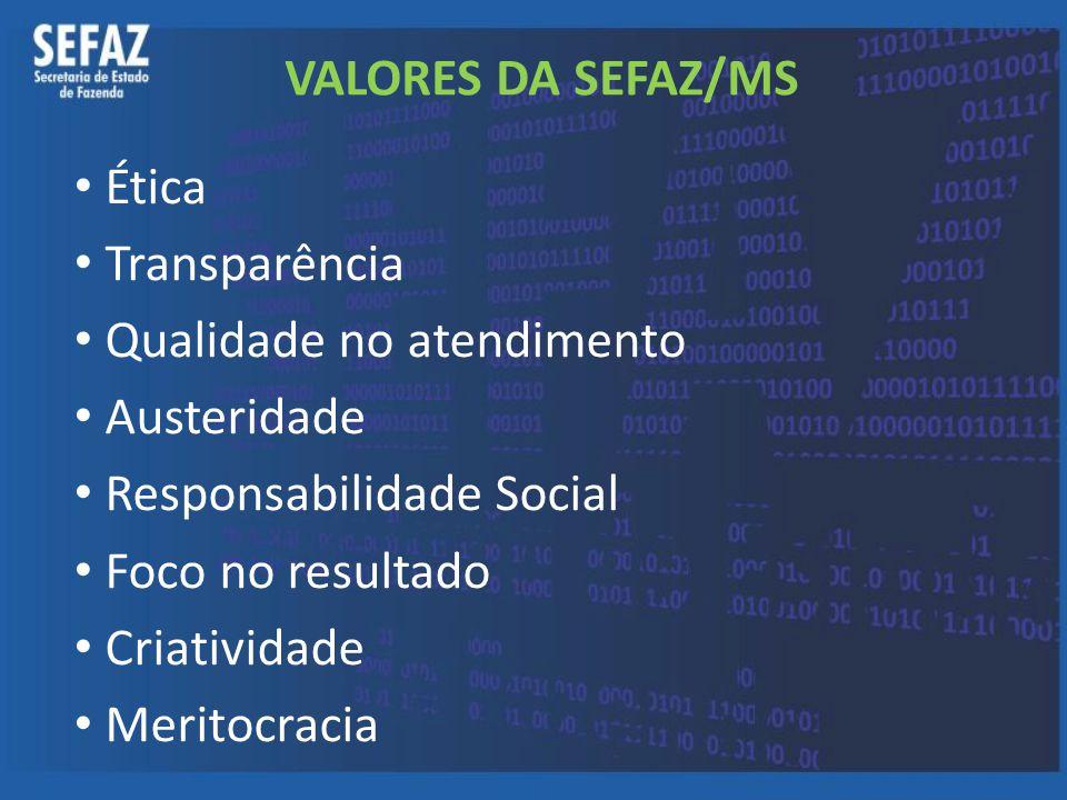 VALORES DA SEFAZ/MS Ética. Transparência. Qualidade no atendimento. Austeridade. Responsabilidade Social.