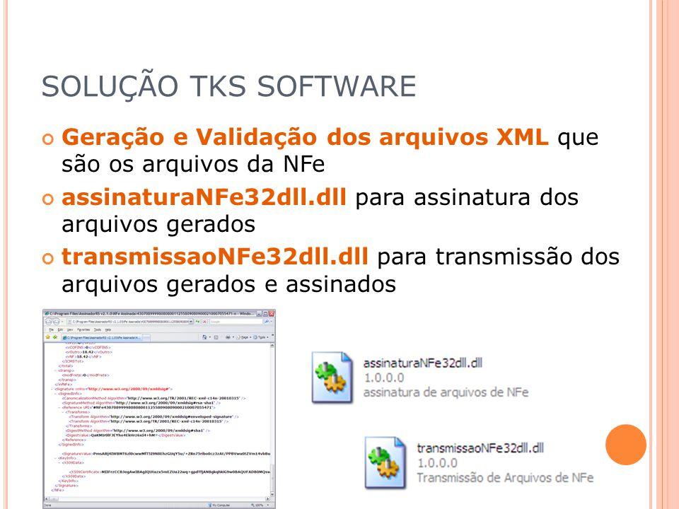 SOLUÇÃO TKS SOFTWARE Geração e Validação dos arquivos XML que são os arquivos da NFe. assinaturaNFe32dll.dll para assinatura dos arquivos gerados.