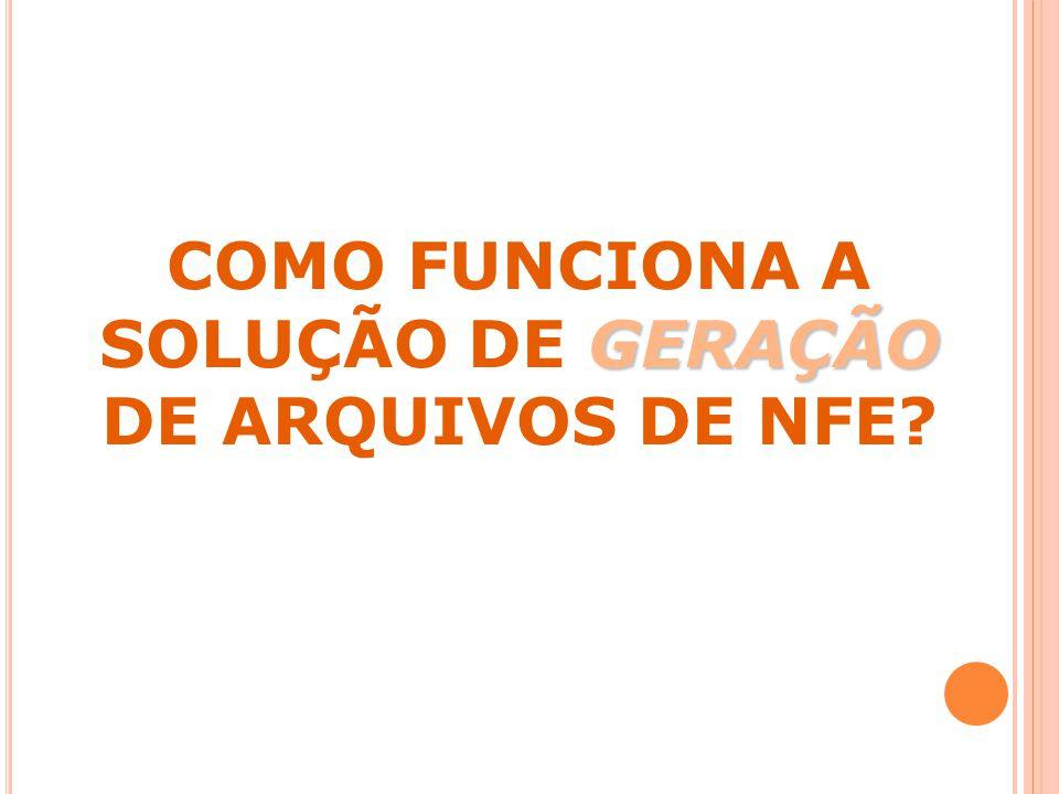 COMO FUNCIONA A SOLUÇÃO DE GERAÇÃO DE ARQUIVOS DE NFE