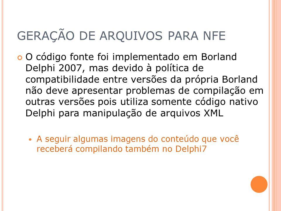 GERAÇÃO DE ARQUIVOS PARA NFE