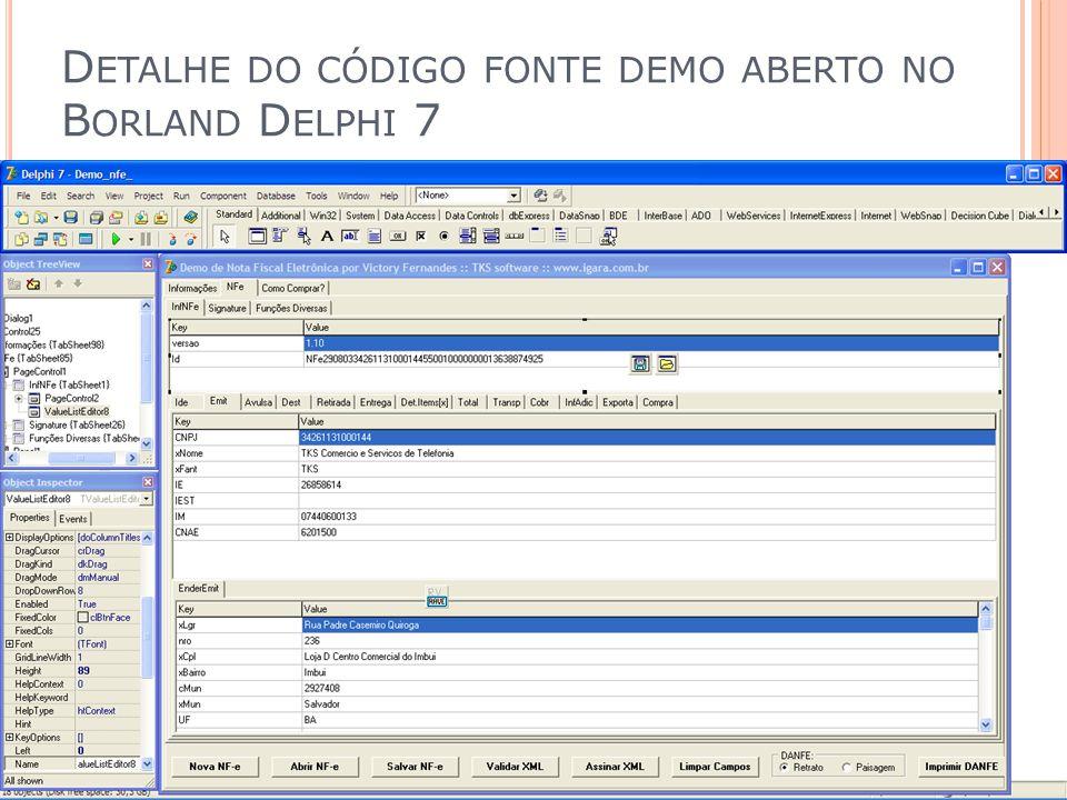 Detalhe do código fonte demo aberto no Borland Delphi 7