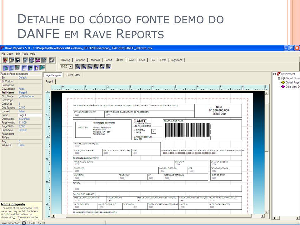 Detalhe do código fonte demo do DANFE em Rave Reports