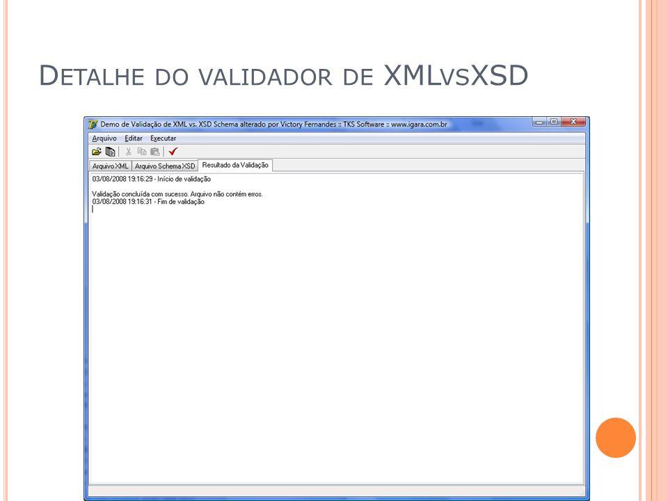 Detalhe do validador de XMLvsXSD