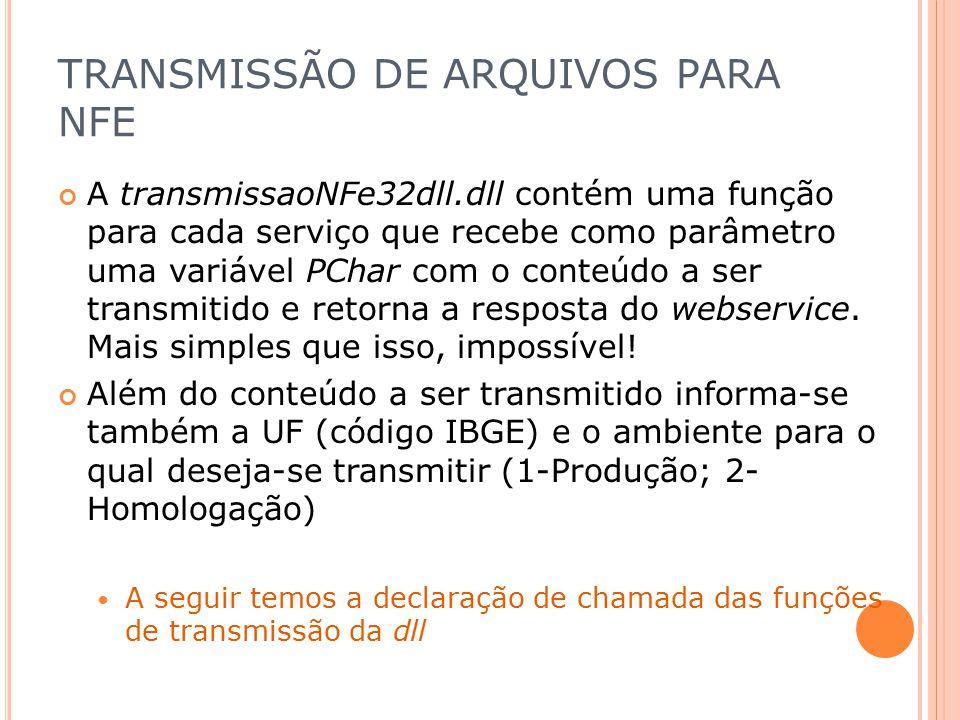 TRANSMISSÃO DE ARQUIVOS PARA NFE