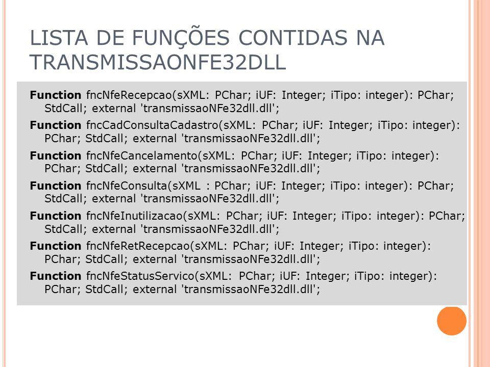 LISTA DE FUNÇÕES CONTIDAS NA TRANSMISSAONFE32DLL
