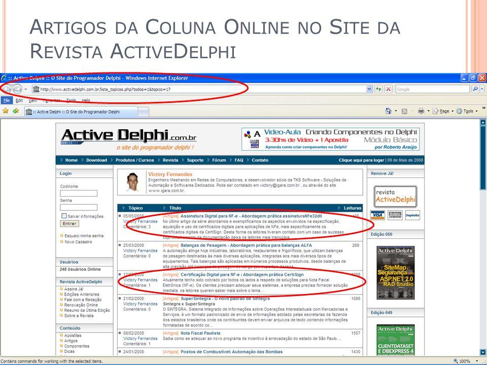 Artigos da Coluna Online no Site da Revista ActiveDelphi