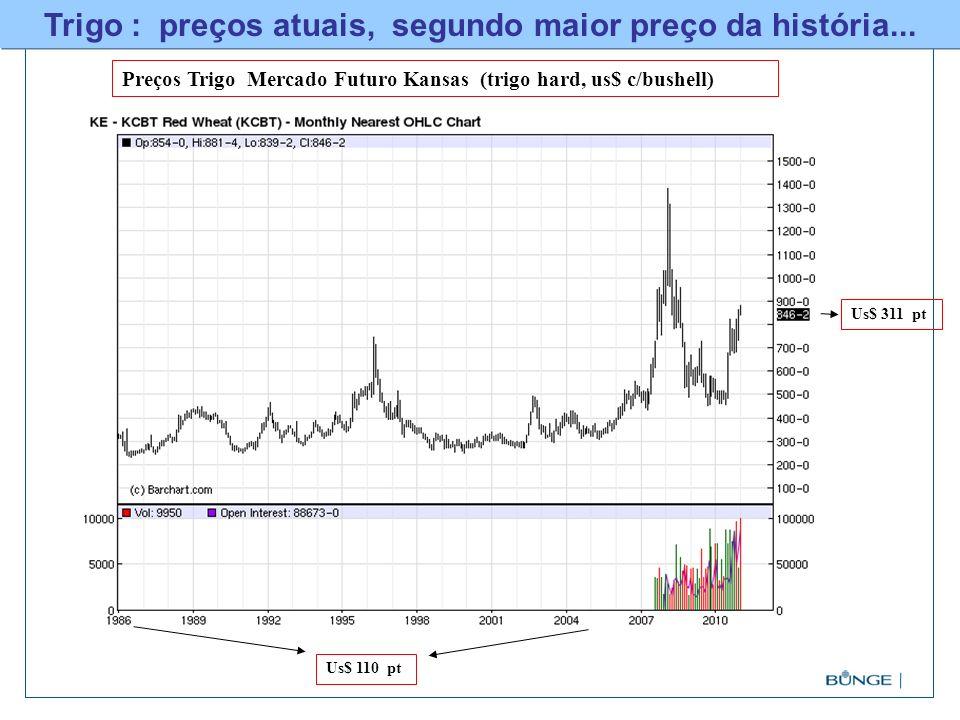 Trigo : preços atuais, segundo maior preço da história...