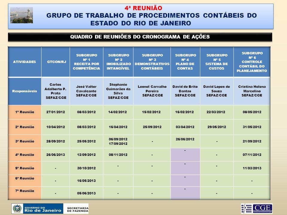 4ª REUNIÃO GRUPO DE TRABALHO DE PROCEDIMENTOS CONTÁBEIS DO ESTADO DO RIO DE JANEIRO. QUADRO DE REUNIÕES DO CRONOGRAMA DE AÇÕES.