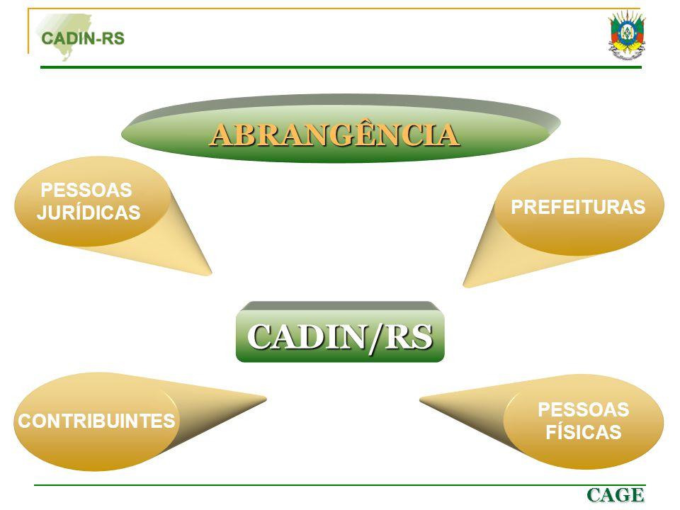 CADIN/RS ABRANGÊNCIA PESSOAS JURÍDICAS PREFEITURAS CONTRIBUINTES