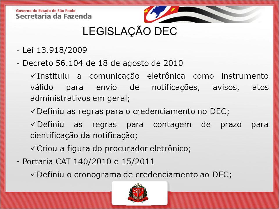 LEGISLAÇÃO DEC - Lei 13.918/2009. - Decreto 56.104 de 18 de agosto de 2010.