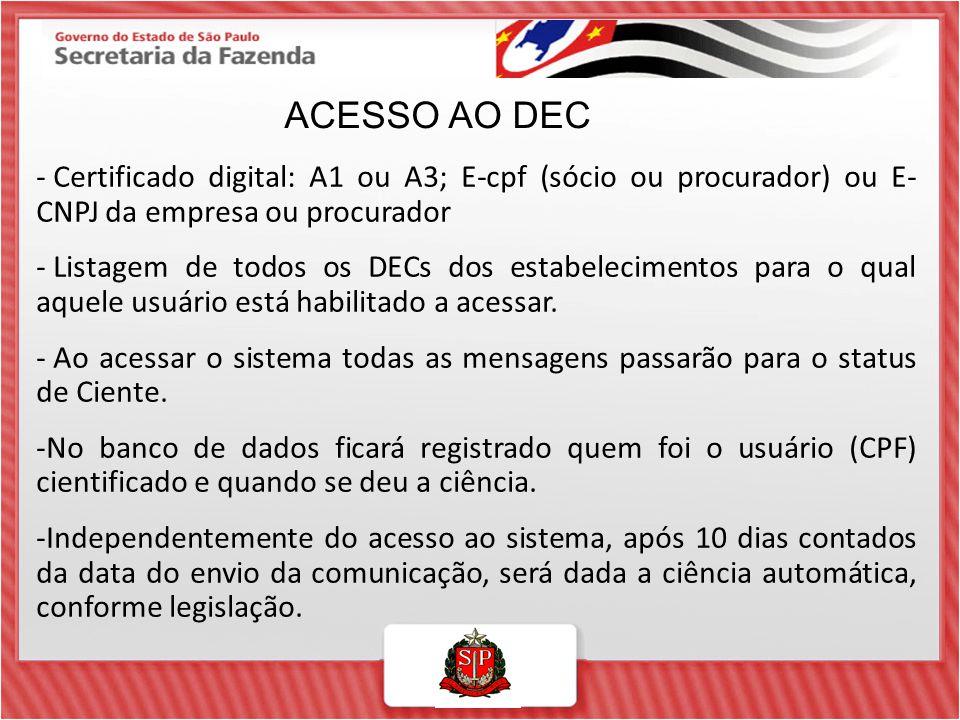 ACESSO AO DEC Certificado digital: A1 ou A3; E-cpf (sócio ou procurador) ou E- CNPJ da empresa ou procurador.