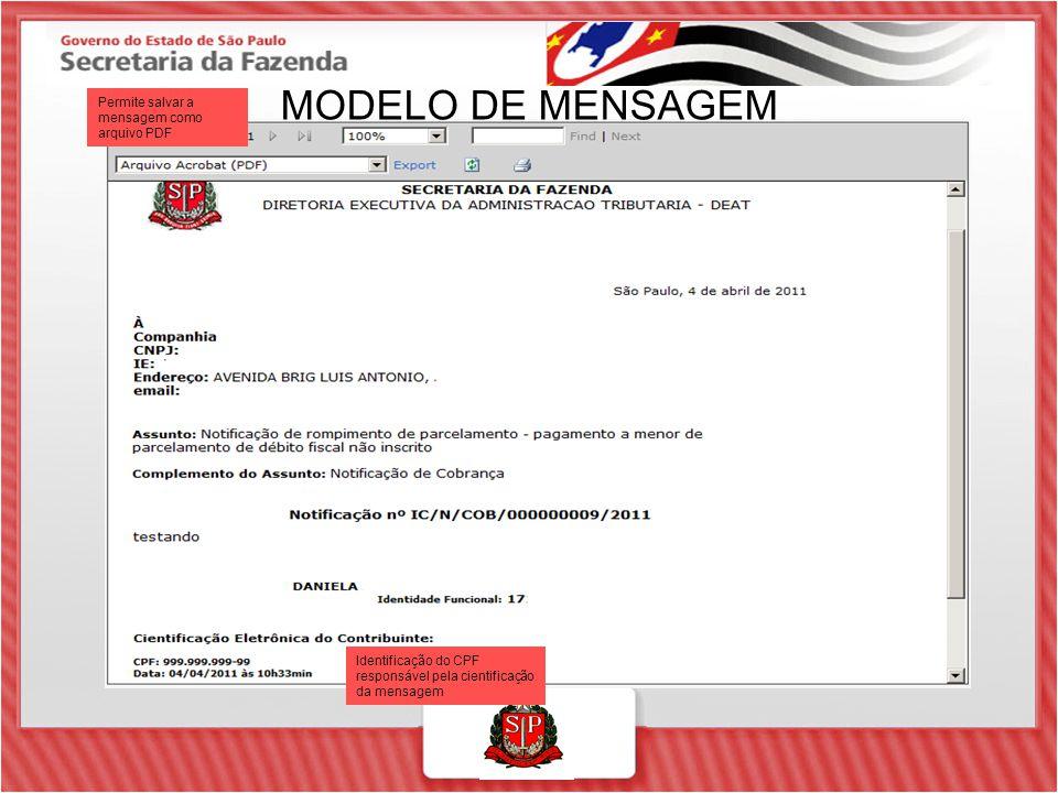 MODELO DE MENSAGEM Permite salvar a mensagem como arquivo PDF