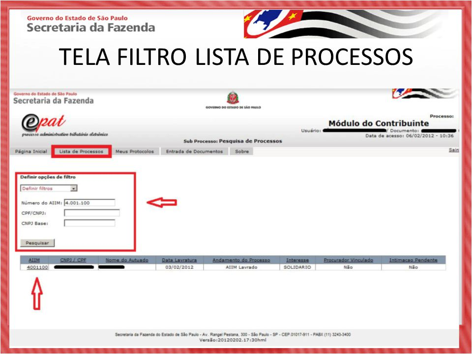 TELA FILTRO LISTA DE PROCESSOS