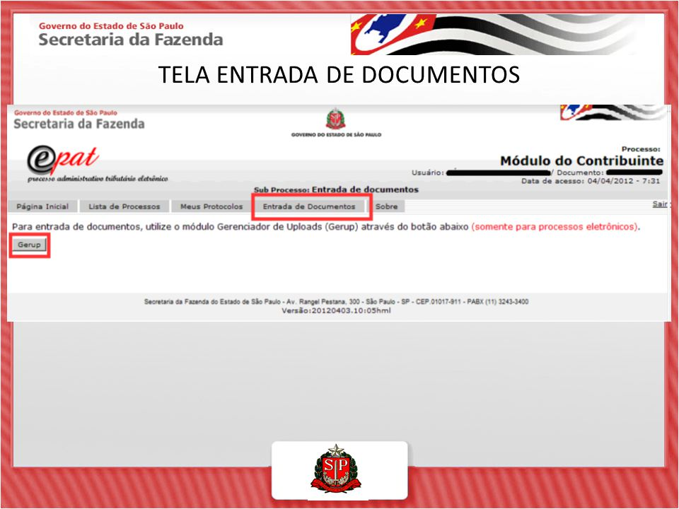 TELA ENTRADA DE DOCUMENTOS