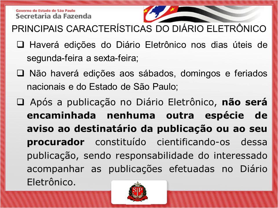 PRINCIPAIS CARACTERÍSTICAS DO DIÁRIO ELETRÔNICO