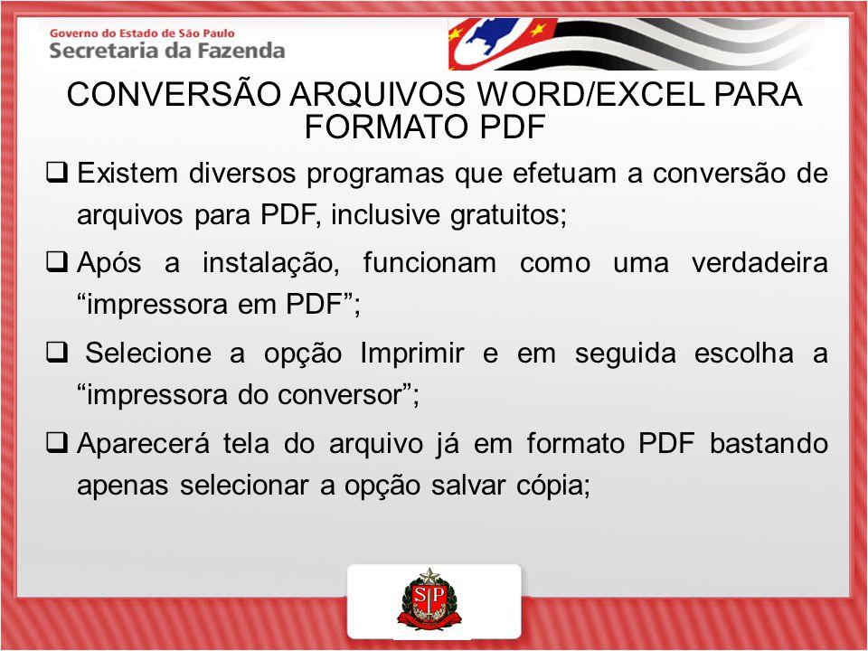 CONVERSÃO ARQUIVOS WORD/EXCEL PARA FORMATO PDF