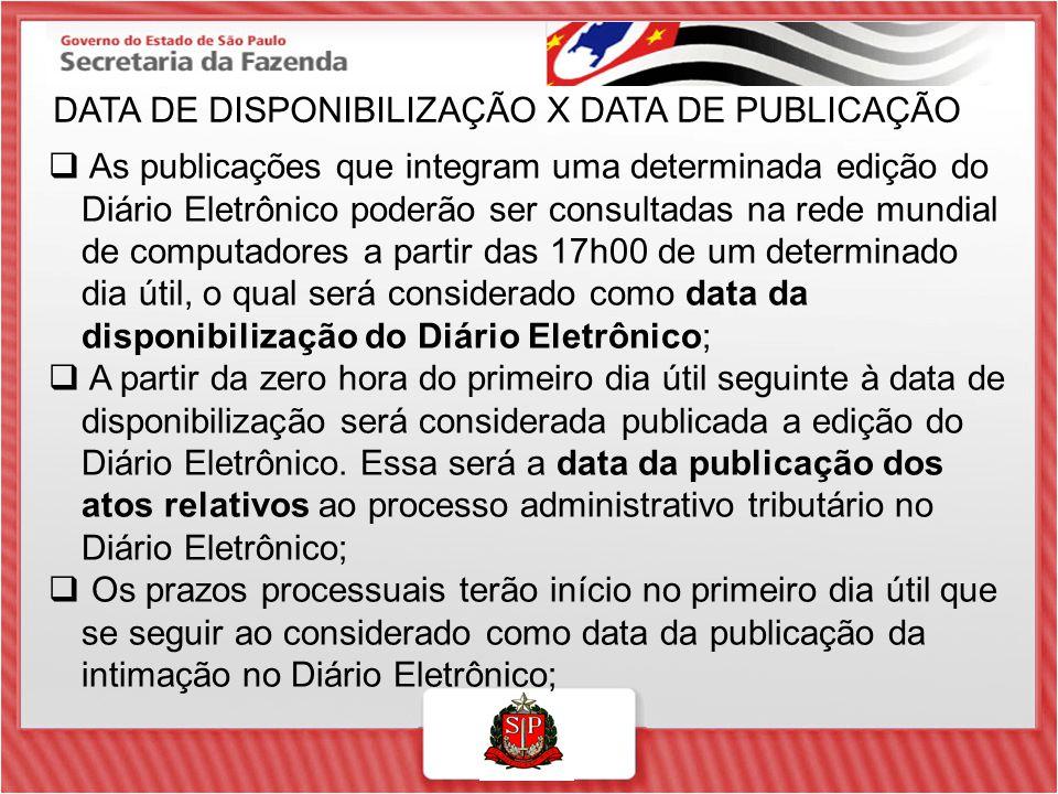 DATA DE DISPONIBILIZAÇÃO X DATA DE PUBLICAÇÃO