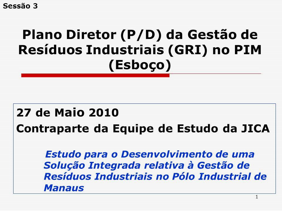Sessão 3 Plano Diretor (P/D) da Gestão de Resíduos Industriais (GRI) no PIM (Esboço) 27 de Maio 2010.