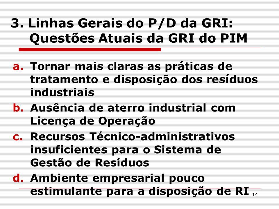 3. Linhas Gerais do P/D da GRI: Questões Atuais da GRI do PIM