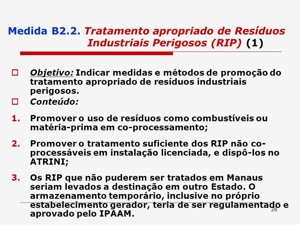 Medida B2.2. Tratamento apropriado de Resíduos Industriais Perigosos (RIP) (1)