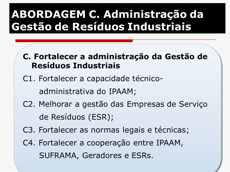 ABORDAGEM C. Administração da Gestão de Resíduos Industriais