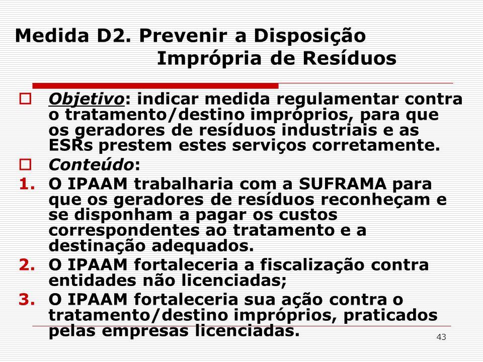 Medida D2. Prevenir a Disposição Imprópria de Resíduos