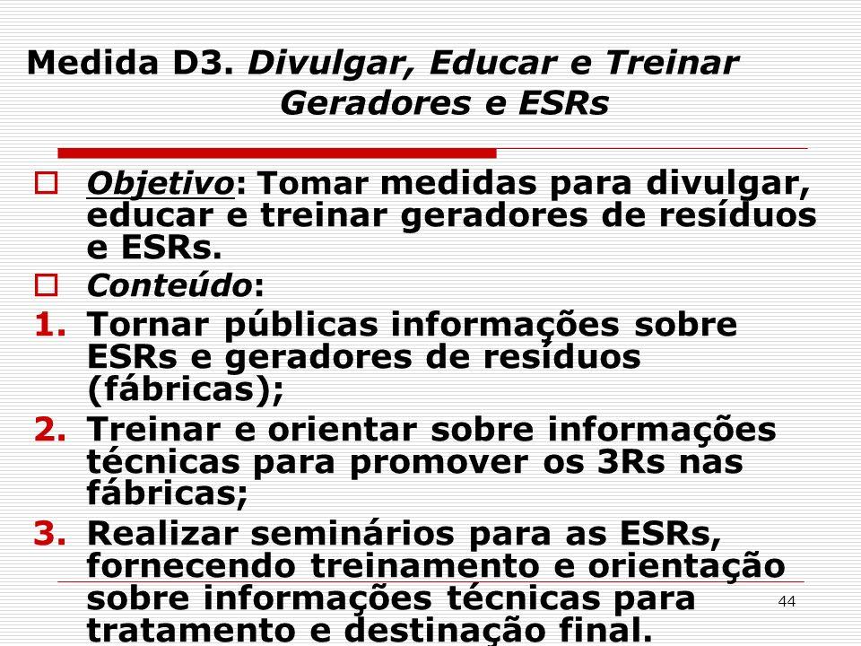 Medida D3. Divulgar, Educar e Treinar Geradores e ESRs