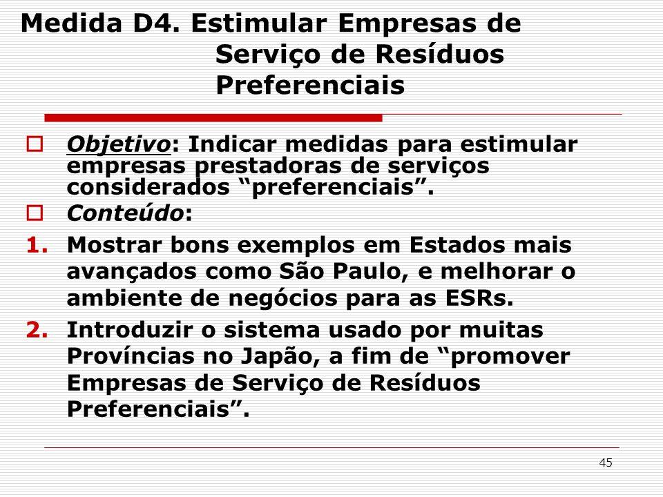 Medida D4. Estimular Empresas de Serviço de Resíduos Preferenciais