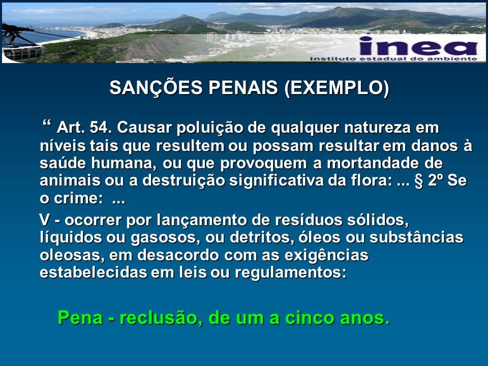 SANÇÕES PENAIS (EXEMPLO)