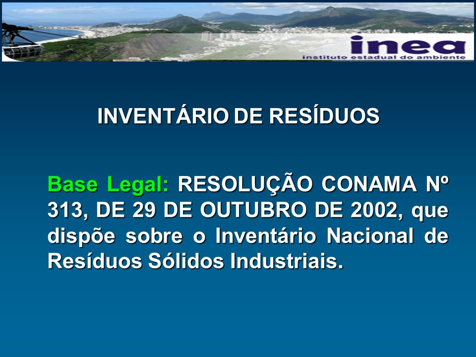 INVENTÁRIO DE RESÍDUOS