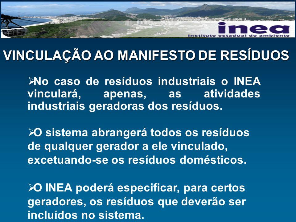 VINCULAÇÃO AO MANIFESTO DE RESÍDUOS