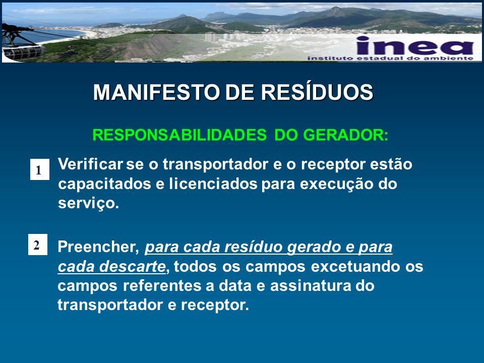 RESPONSABILIDADES DO GERADOR: