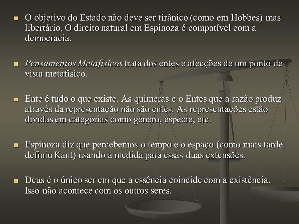 O objetivo do Estado não deve ser tirânico (como em Hobbes) mas libertário. O direito natural em Espinoza é compatível com a democracia.