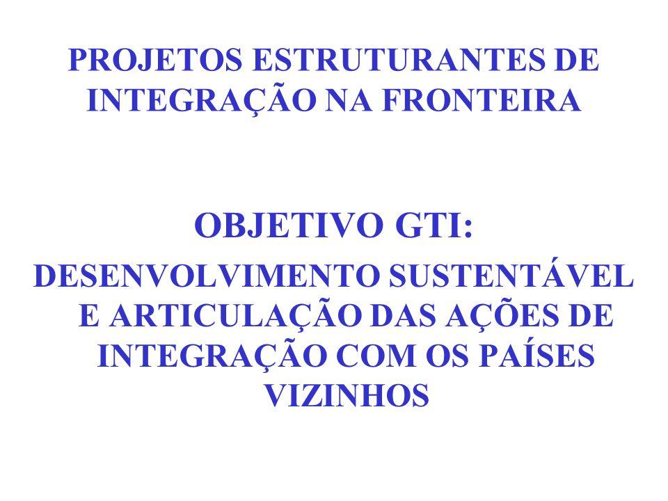 PROJETOS ESTRUTURANTES DE INTEGRAÇÃO NA FRONTEIRA