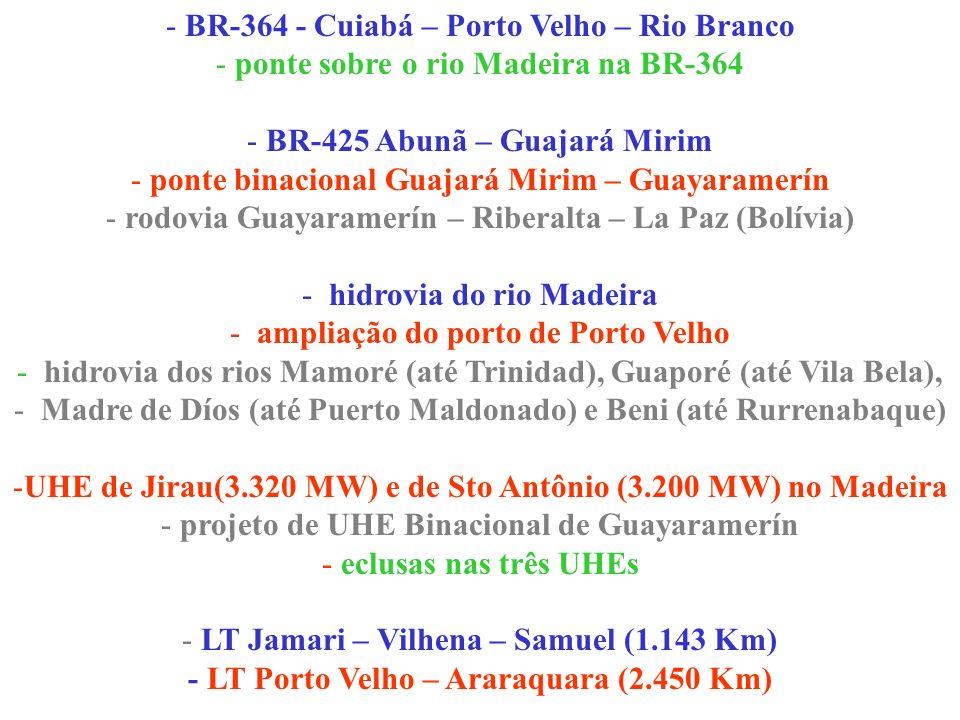 - BR-364 - Cuiabá – Porto Velho – Rio Branco