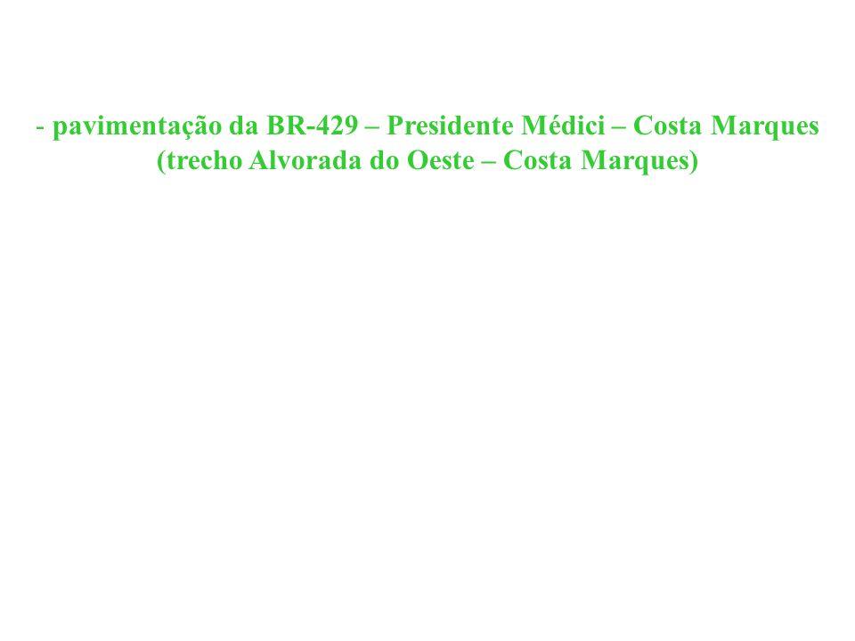 pavimentação da BR-429 – Presidente Médici – Costa Marques (trecho Alvorada do Oeste – Costa Marques)