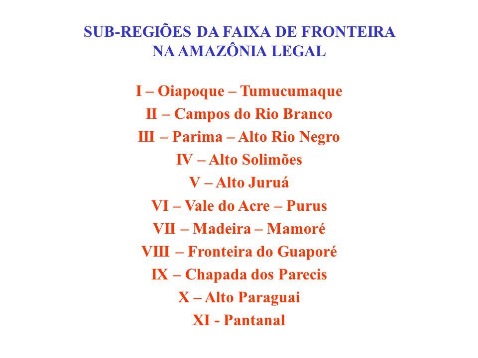 SUB-REGIÕES DA FAIXA DE FRONTEIRA NA AMAZÔNIA LEGAL