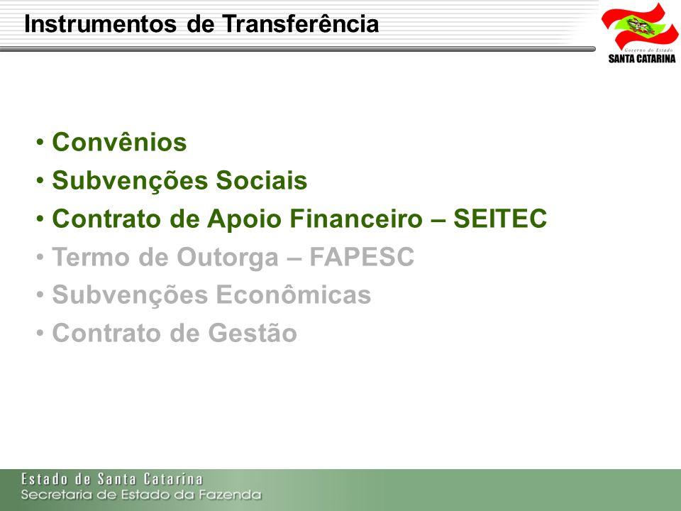 Contrato de Apoio Financeiro – SEITEC Termo de Outorga – FAPESC