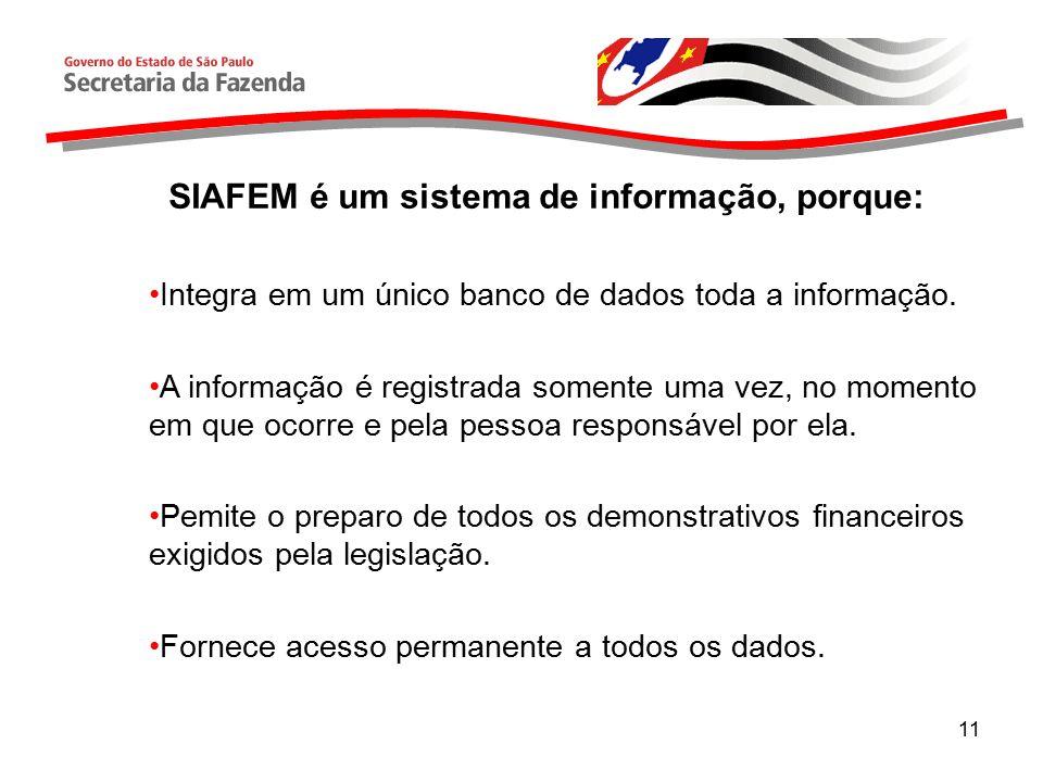 SIAFEM é um sistema de informação, porque: