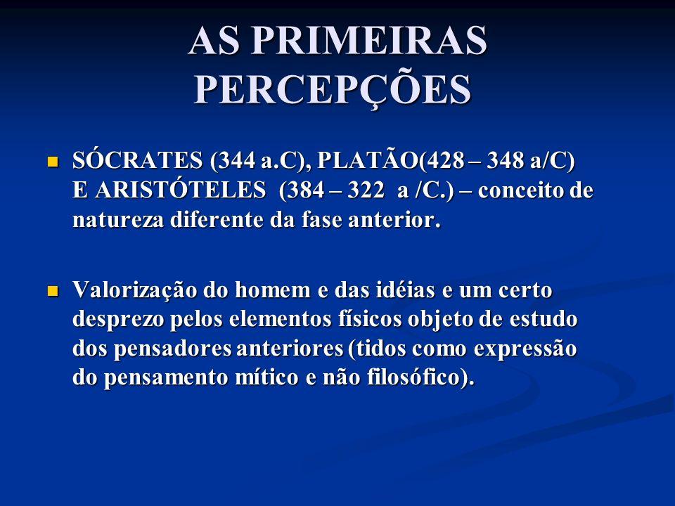 AS PRIMEIRAS PERCEPÇÕES