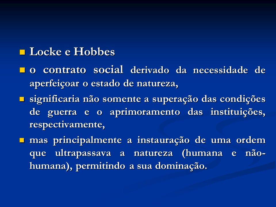 Locke e Hobbes o contrato social derivado da necessidade de aperfeiçoar o estado de natureza,