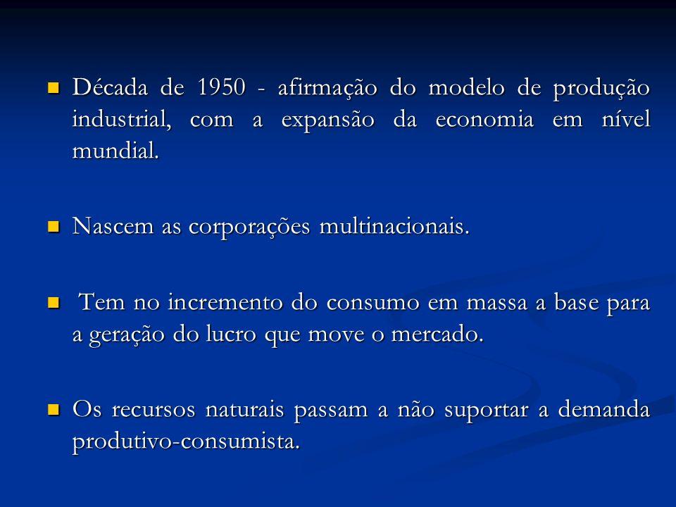 Década de 1950 - afirmação do modelo de produção industrial, com a expansão da economia em nível mundial.