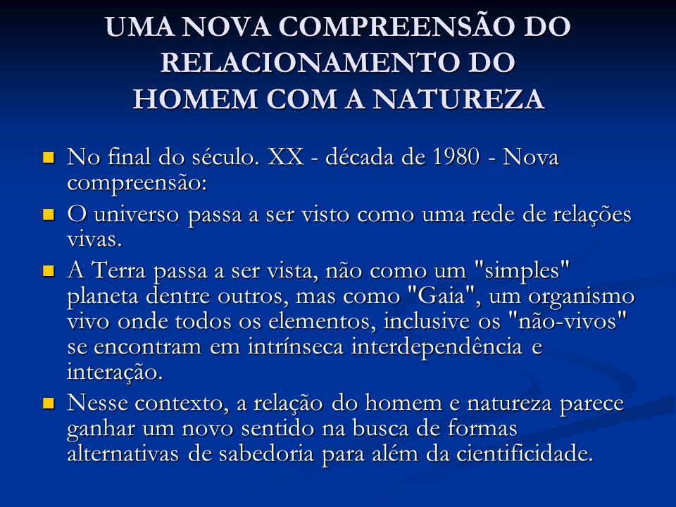 UMA NOVA COMPREENSÃO DO RELACIONAMENTO DO HOMEM COM A NATUREZA