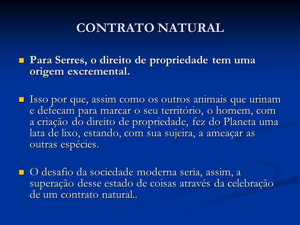 CONTRATO NATURAL Para Serres, o direito de propriedade tem uma origem excremental.