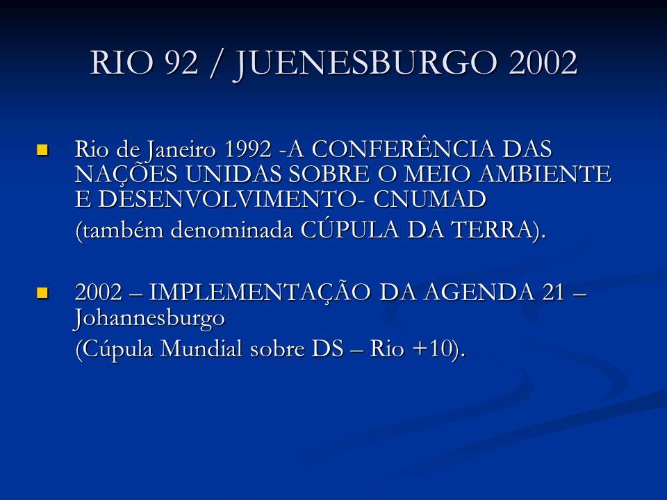RIO 92 / JUENESBURGO 2002 Rio de Janeiro 1992 -A CONFERÊNCIA DAS NAÇÕES UNIDAS SOBRE O MEIO AMBIENTE E DESENVOLVIMENTO- CNUMAD.