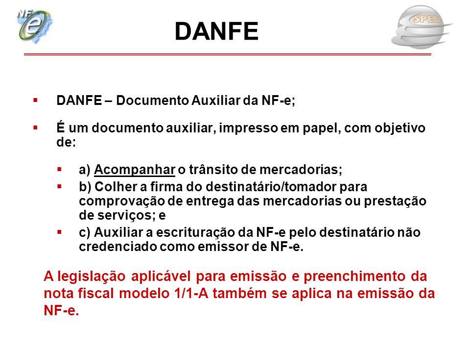 DANFE DANFE – Documento Auxiliar da NF-e; É um documento auxiliar, impresso em papel, com objetivo de: