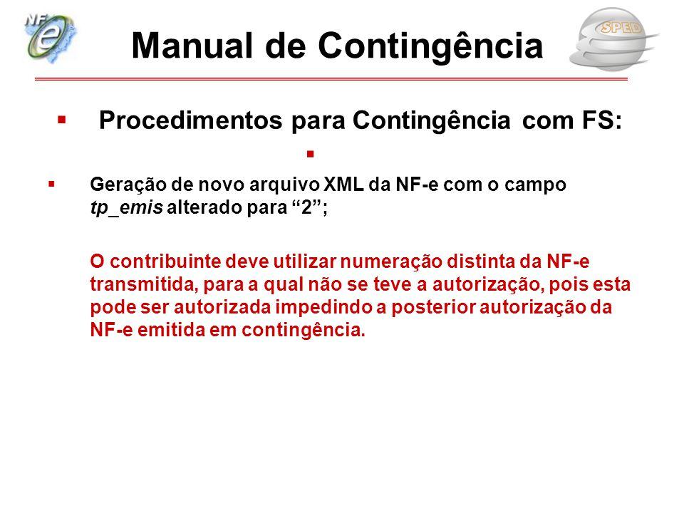 Manual de Contingência Procedimentos para Contingência com FS: