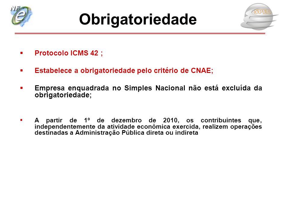Obrigatoriedade Protocolo ICMS 42 ;