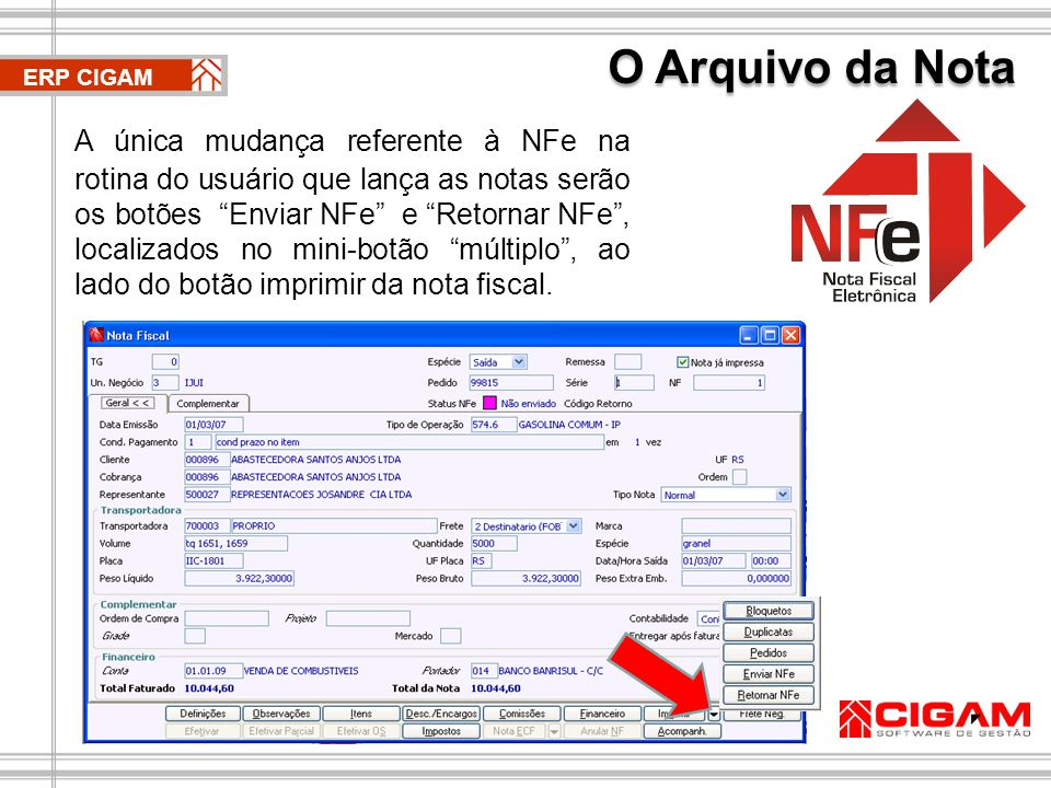 O Arquivo da Nota ERP CIGAM.